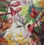 honeysuckle plants invasive species oil painting