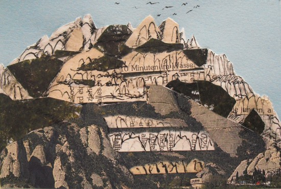 montserrat mountain collage postcard