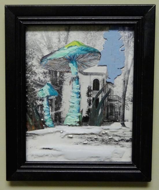 mushroom old house collage