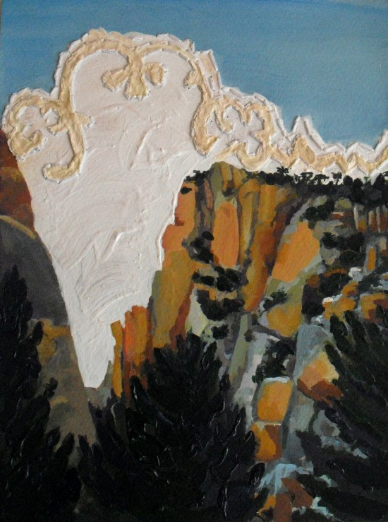 mountains spain nature embroidery landscape scenery gouache painting on paper